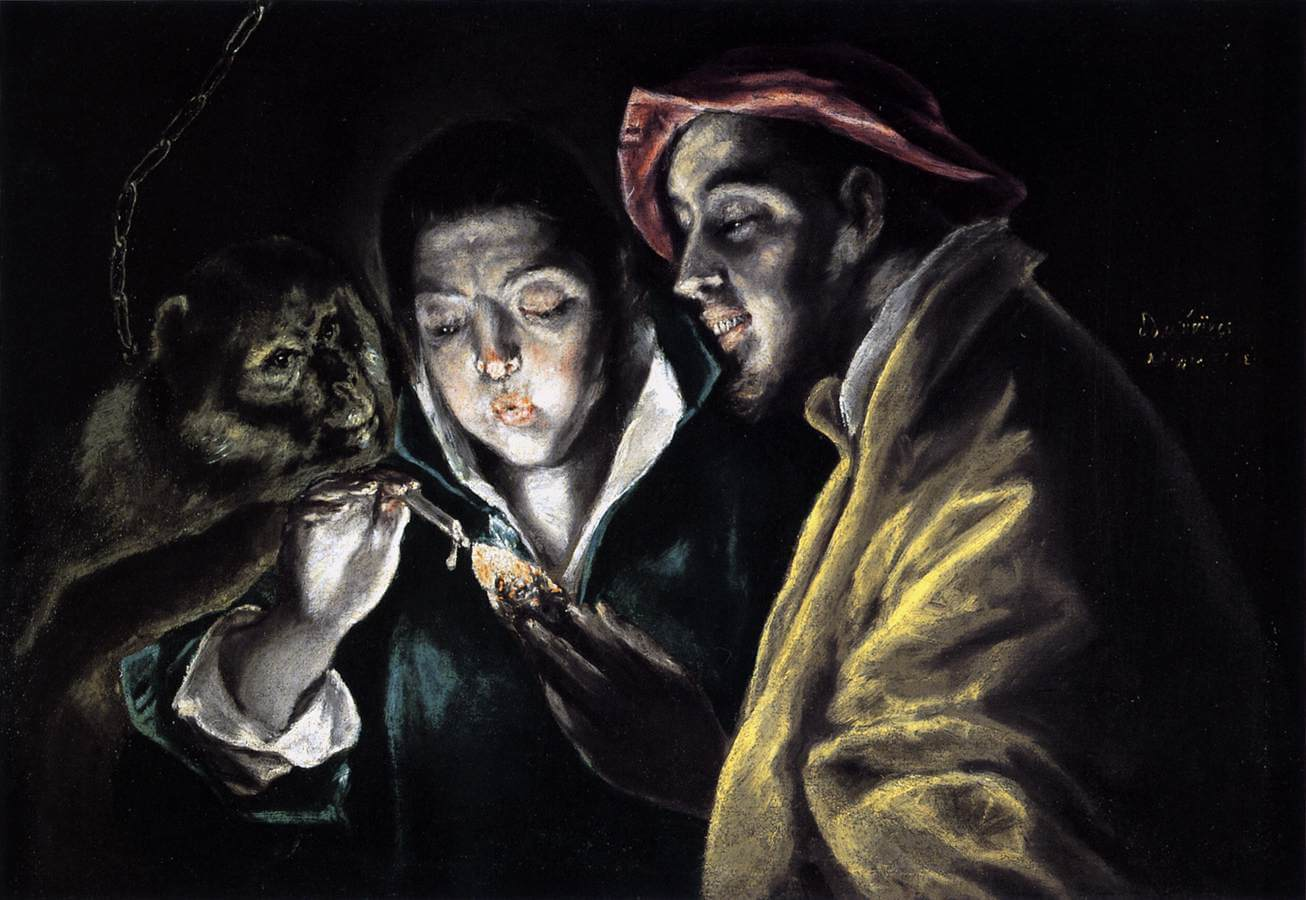 Allegory boy lighting candle in the company of an ape and a fool fabula - by El Greco
