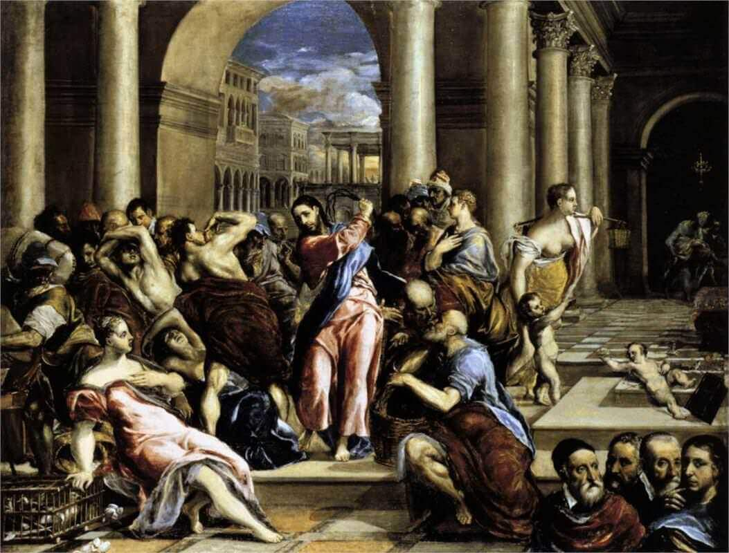Christ driving the traders from the temple - by El Greco