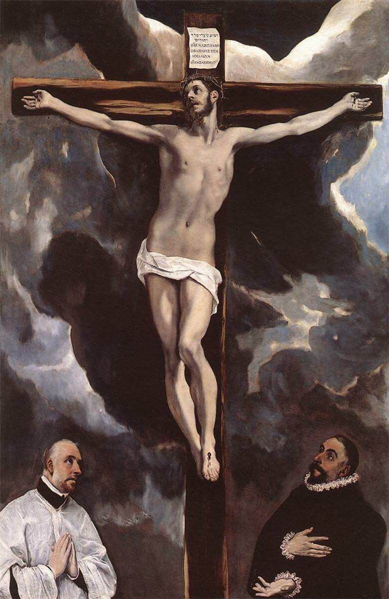 Christ on the cross adored by two donors - by El Greco