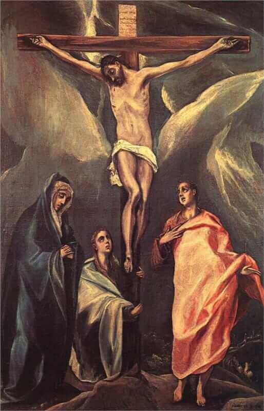 Christ on the cross with two maries and st john - by El Greco