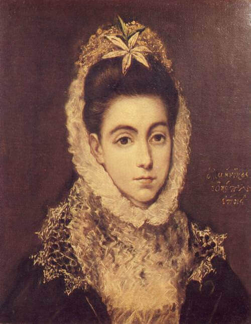 Lady with a flower in her hair - by El Greco