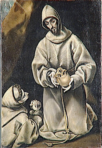 St francis and brother leo meditating on death - by El Greco