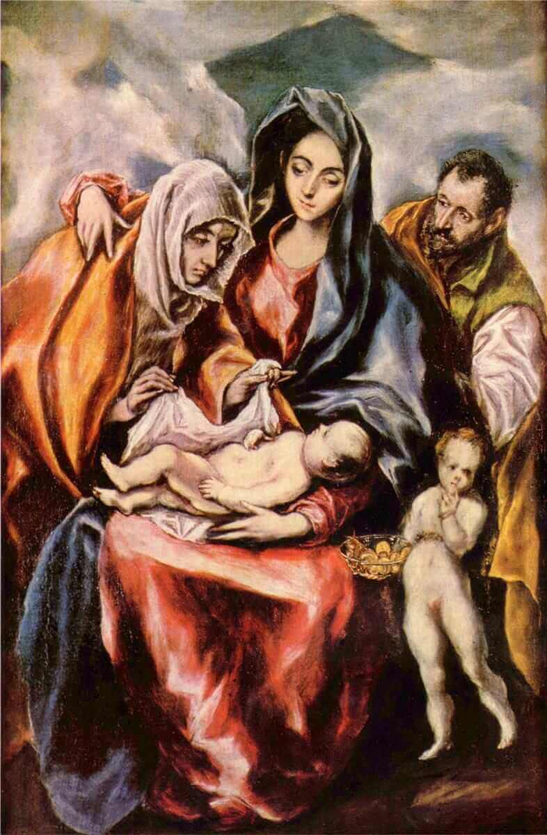 The holy family with st anne and the young st john the baptist - by El Greco